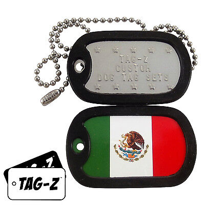 Military Dog Tags - Custom Embossed Flag Tag Set - MEXICAN FLAG w/ Silencers