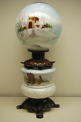 Antique Old Oil Kerosene Gwtw Gone With The Wind Banquet Victorian Glass Lamp
