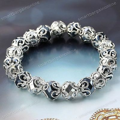 1x Silver & Black Color Faceted Crystal Glass Flower Bead Cap Stretchy Bracelet