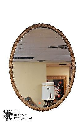 """Antique Louis XV Style French Regency Mirror Oval Silver Gilt Rococo Frame 36"""""""