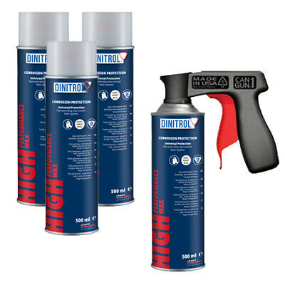 4 x DINITROL HIGH PERFORMANCE UNDERBODY WAX CLEAR 500ml AEROSOL + CANGUN