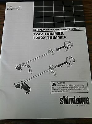 SHINDAIWA OWNERS/OPERATORS MANUAL FOR T242 TRIMMER, T242X TRIMMER-Part #: 81643