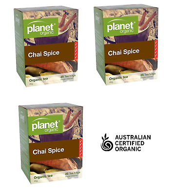 3 x Certified ORGANIC HERBAL CHAI SPICE TEA 25 bags Planet BEST QUALITY