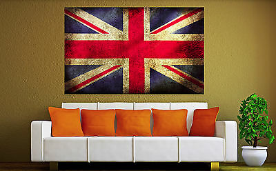 UK Abstract Vintage Flag Canvas Print Wall Fine Art Prints Color Flags 1 2 3