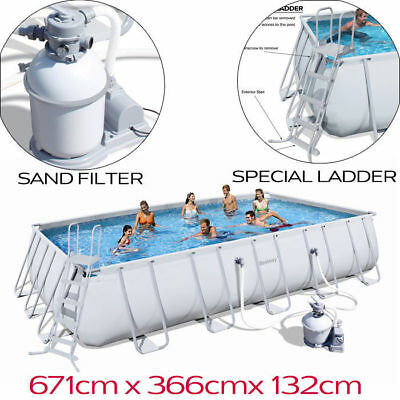 BEstway Steel Frame Above Ground Swimming Pool 22ft 6.7m 56278 Sand Filter PUmp