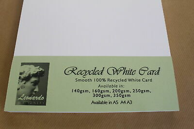100% RECYCLED A5, A4, A3 SMOOTH NATURAL WHITE CARD 160gsm, 200gsm, 250gsm 300gsm