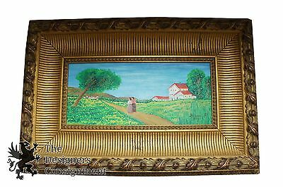 Acrylic Landscape Painting on Canvas Board Signed by Artist Farm Land Trees Vtg
