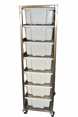 Bakery Stainless Steel 7 Bin Rack with 7 x 32 litre tubs - BRAND NEW