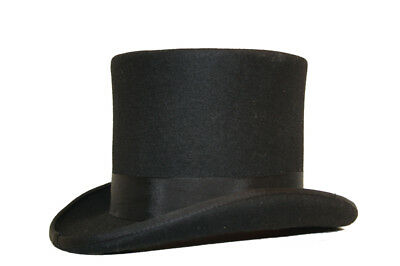 """Mens Gents Quality 100% Wool 6"""" High Satin Lined Wedding Event Victorian Top Hat"""