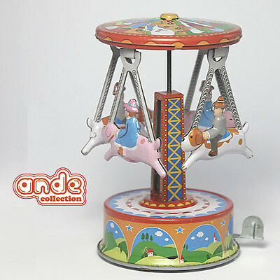 Replica TIN TOY Wind Up Animals Carousel Roundabout in Theme Park MF356