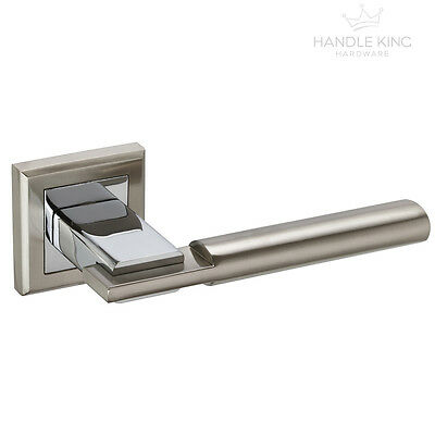 Square Internal Chrome Door Handles Set on Rose - Duo Polished & Satin Chrome