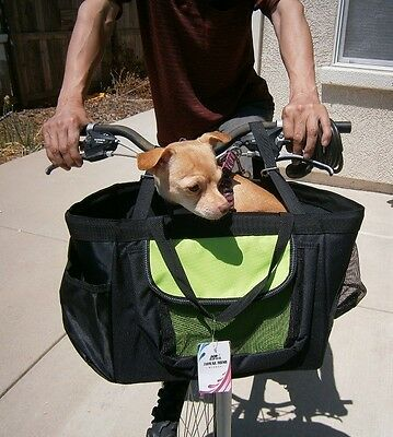 3-in-1 Pet Dog Puppy Bicycle Basket & Car Seat & Hand Carrier Bag & Rain Cover