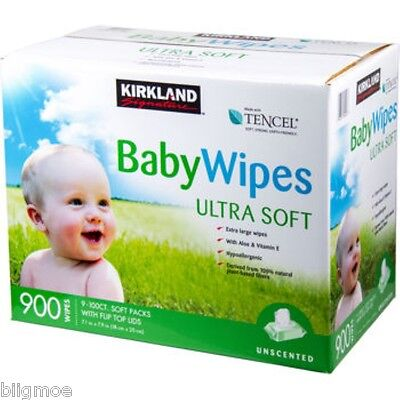 Kirkland Signature Baby Wipes - 900 (9 packs of 100) Count Tencel biodegradable