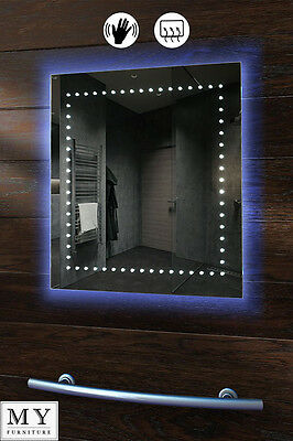 LED ILLUMINATED BATHROOM MIRROR / 600 x 600 mm / DEMISTER / SENSOR - LAMDA
