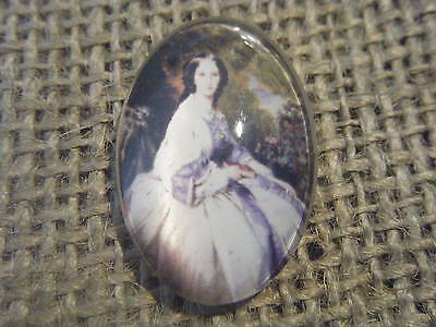 1 30x20mm Glass Oval Flat Back Cabochon Quirky Vintage Lady Portrait 15