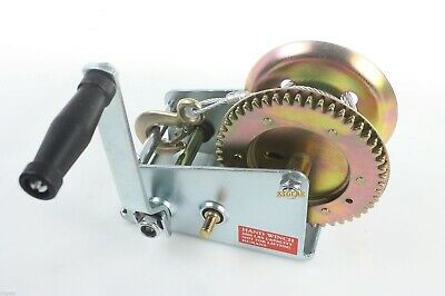 3500lbs GEAR WINCH HAND CRANK TRAILER CABLE HEAVY DUTY NEW