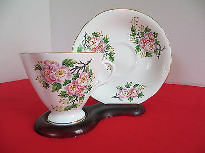 Clarence Tea Cup and Saucer Made in England Vintage White With Floral Pattern