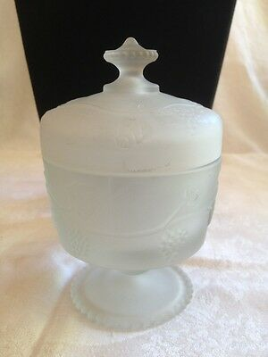 Avon Satin Glass Jar Grapes Vines Clear Frosted Sugar Bowl Covered Lid Footed