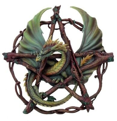 Halloween Wall Plaque Anne Stokes Green Forest Dragon Pentagram Figurine Decor