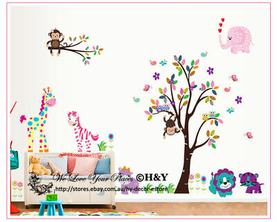 Jungle Tree Animals Giraffe Owl Lion Wall Stickers Nursery Decal Kids Baby Decor