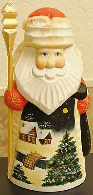 RUSSIAN hand carved painted SANTA Father Frost New Year X-mas tree village