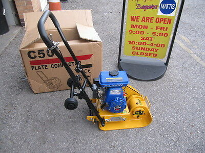 Wacker Plate With 3 Hp Lifan Petrol Engine. Compactor Plate, Foldable Wheels Kit