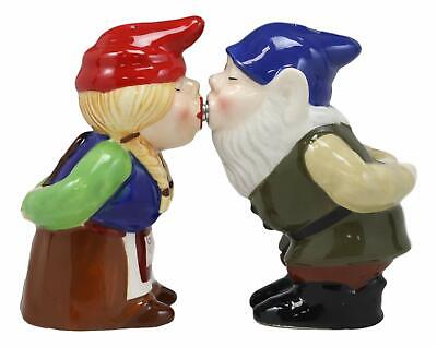 Decorative Salt Pepper Shakers Kitchenware Magnetic Ceramic Gnome Couple Kissing