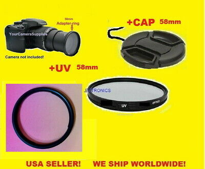 RING ADAPTER+UV FILTER+LENS CAP 58mm for Canon PowerShot SX50 SX60 SX520 HS