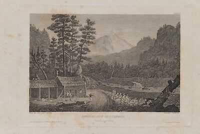 Ansiedlers Blockhaus America Stich Engraving First North American Settlers 1800