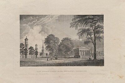 Yale College & State House Newhaven Connecticut Antique Engraving Classicism