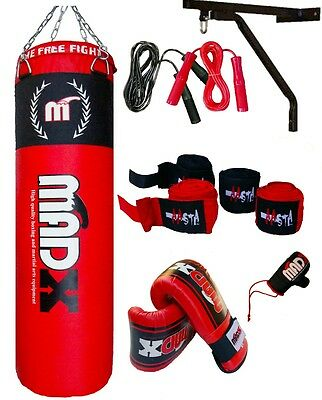 MADX 4ft/5ft Filled Heavy Punch Bag Custom Build Set,Chains,Bracket,Gloves,Mma