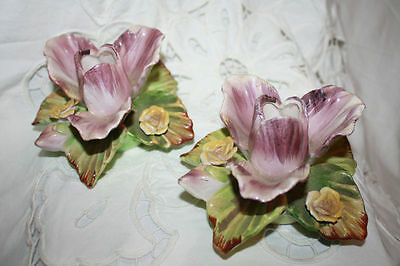Candleholders Flower Candle Holders Signed Beautiful  Iris Open Flowers Leaves