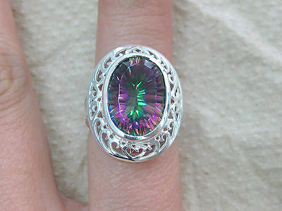 925 Sterling Silver Real Natural Oval Mystic Topaz Filigree Ring Size L N P R
