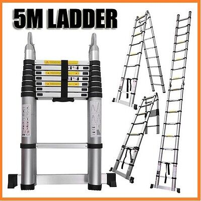 New 5M Telescopic Aluminium Ladder Extension Alloy Extendable Step Aus Bullet