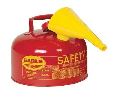 Safety Gas Can with Funnel, 2 Gallon, Red, Galvanized Steel, Eagle UI-20-FS