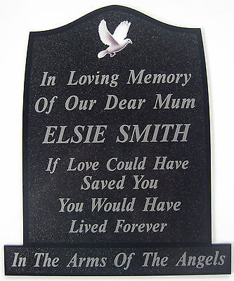 Memorial Plaque Grave Dove Personalised Own Words / Temporary Headstone Marker