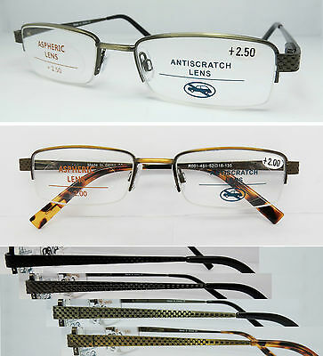 L481 Superb Quality Semi Rimless Metal Reading Glasses/Spring Hinges/Lattice Arm