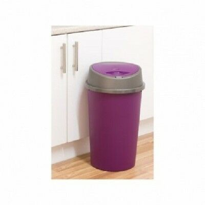 45L Touch Top Bin Waste Plastic Dustbin Rubbish bin Purple Kitchen Home New