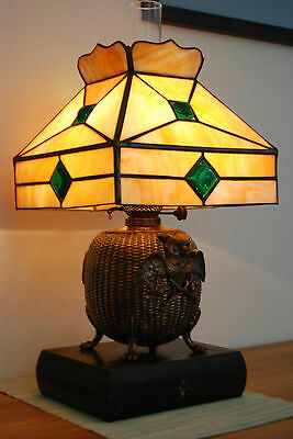 Antique Art Deco Nouveau Slag Glass Jeweled Owl Kerosene Oil Arts & Crafts Lamp