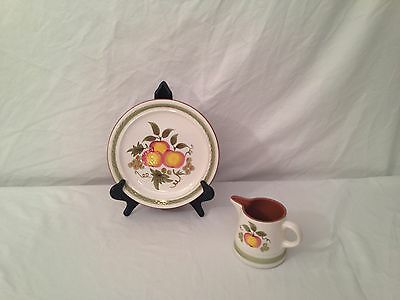 """Vintage STANGL """"Apple Delight"""" Design  10"""" Dinner Plate and 16 Ounce Pitcher"""