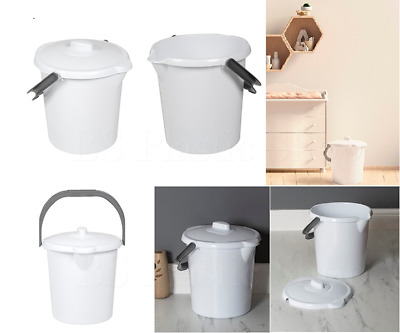16 Liter Nappy bucket storage solid container with Lid waste Bin white Home New