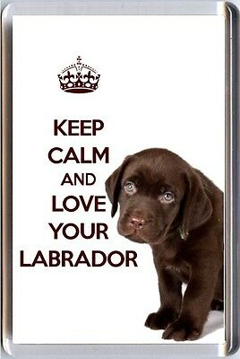 KEEP CALM and LOVE YOUR LABRADOR image of a BROWN Labrador PUPPY Fridge Magnet