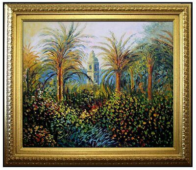Framed Claude Monet Garden in Bordighera Repro Hand Painted Oil Painting 20x24in