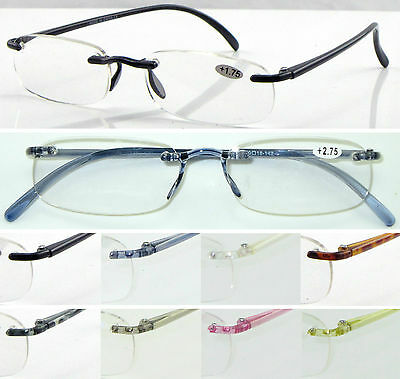 L9 Rimless Reading Glasses/Super Lightweight Memory Plastic/Classic Style Design