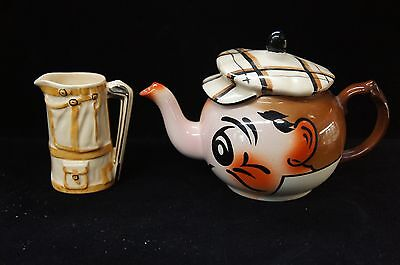 Vintage Wade England Pottery Golfer Teapot & Creamer Golf Clubs Caddy Bag Coffee
