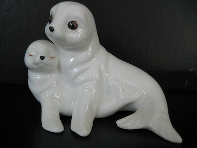 Vintage Royal Osborne White Bone China Pair Of Seal Pup Mother And Baby Tmr 5598