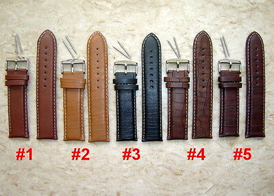 GENUINE LEATHER WATCH STRAPS 18mm 20mm 22mm 24mm 26mm + FREE SPRING BARS