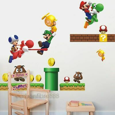 Huge SUPER MARIO BROS Wall Stickers Removable Decal Kids Boys Nursery Art Decor