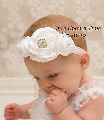 White Satin Flower Headband - Baby Girl Hair Bow Hairbow Baptism Christening