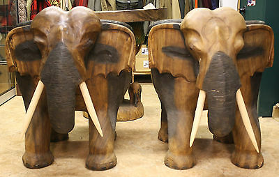 wooden Elephant table and chair set